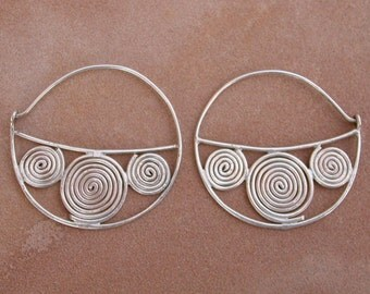 Hammered Silver Spiral Hoops Bohemian Gypsy Style