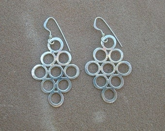 Hammered Silver Multi-Circle Earrings