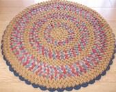 "Reversible Crochet Accent Rug in Autumn Burnt Orange - 23"" Round"