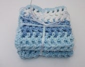 Set of 2 Crochet Cotton Wash Cloths in Blue, Light Blue and White Stripes - 8 x 8 inches