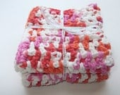 Set of 2 Crochet Cotton Wash Cloths in Coral, Hot Pink and White - 8 x 8 inches