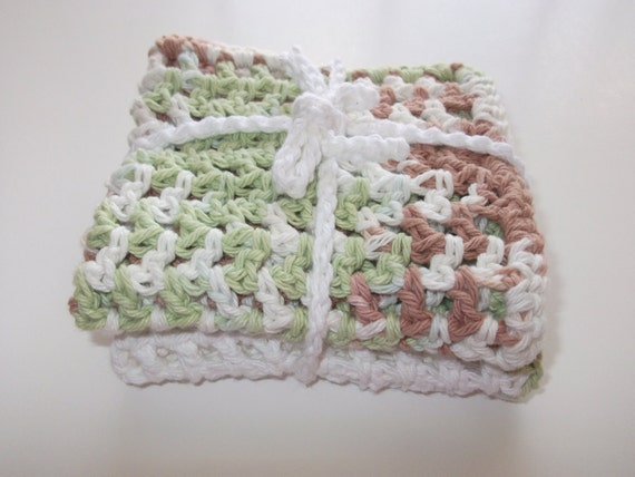 Set of 2 Crochet Cotton Wash Cloths in Lime, Dusty Rose and White - 9 Square Inch