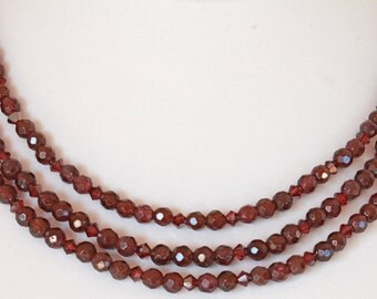 Garnet and Swarovski crystal necklace and earrings set