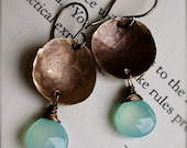 Dangle Earrings-Chalcedony and Antiqued Brass Hand Forged Hammered and Wire Wrapped