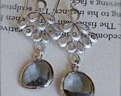 Chandelier Earrings-Silver Boho Chic Earrings with Smokey Grey Glass-Dangle Earrings