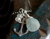 Pendant Necklace with Pastel Aquamarine and Moonstone-Nautical-Seashore-Beach Bridesmaid Necklace