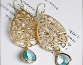 ST PATRICKS SALE Gold Chandelier Earrings with Aquamarine Gold Encased Glass-Modern Bohemian
