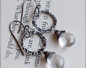 Oxidized Sterling Silver Earrings with Crystal Clear Rock Quartz