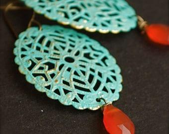 Dangle Earrings-Hand Patina Filigree Earrings with Fiery Carnelian