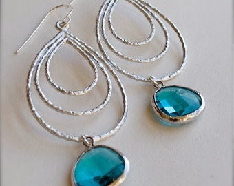 Sterling Silver Chandelier Earrings with Deep Teal Glass