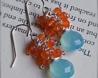 Gemstone Cluster Earrings-Fire and Rain-Carnelian and Sky Blue Chalcedony Cluster Earrings