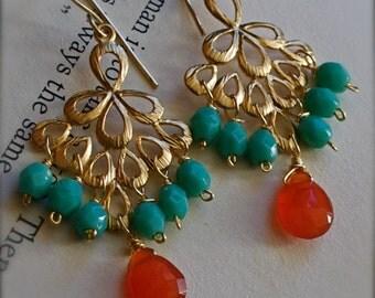 Dangle Earrings with Caribbean Blue Glass and Fiery Orange Carnelian
