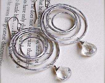 Chandelier Earrings-Silver-Crystal Rock Quartz-Bridesmaid Jewelry