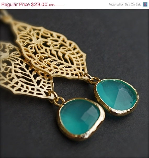 CYBER MONDAY SALE-India-Gold Earrings with Lagoon Blue Sea Glass
