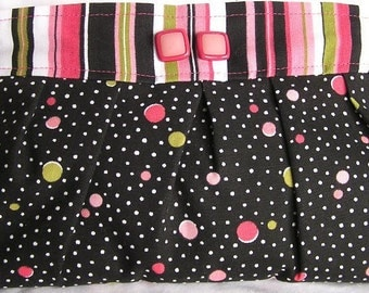 Pink and black stripes and dots pleated clutch evening bag polka dot flamingo summer beach cruise wear water resistant Waverly fabric