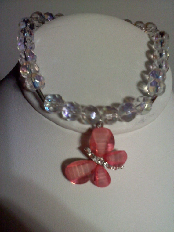 Pink Butterfly Anklet with Irridescent Glass Beading
