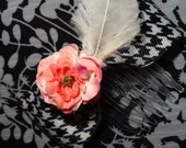 Flower, bow and feather  hair comb accessory. Houndstooth and Nail color scheme.