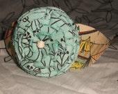 Aqua fabric flower & vintage tent pattern headband