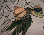 Vintage tent pattern bow with peacock feathers and metal rose hair clip.