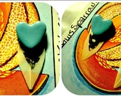Extraordinarily exotic blue heart, black and white feather stud earrings. (polymer clay)