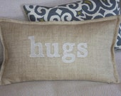 Custom Pillow / Oatmeal Fabric / Natural-White Embroidery / 10x18 / Flange Edge