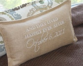 Wedding Pillow /  Tan-Latte Fabric /  Thread Options / 10x18 / Flange Edge