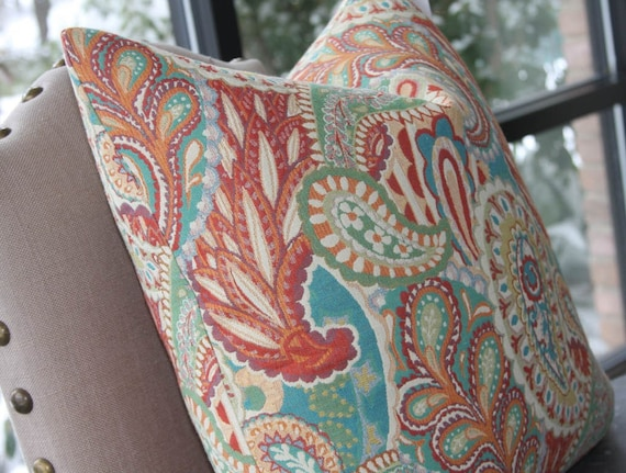 Turquoise Coral Yellow Multi Colored Paisley Pillow