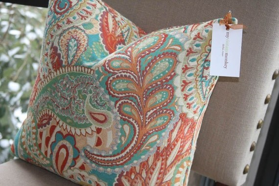 Items Similar To Pre Order Paisley Pillow Cover Coral