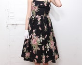 MOVING SALE Black Floral Party Dress with Crinoline XS-S