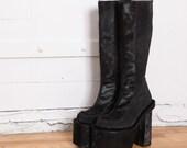"RESERVED 90s Goth Black PONY FUR 7"" Heel Platform Boots 9"