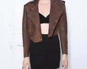 SALE 80s North Beach Leather Distressed Brown Military Jacket S-M