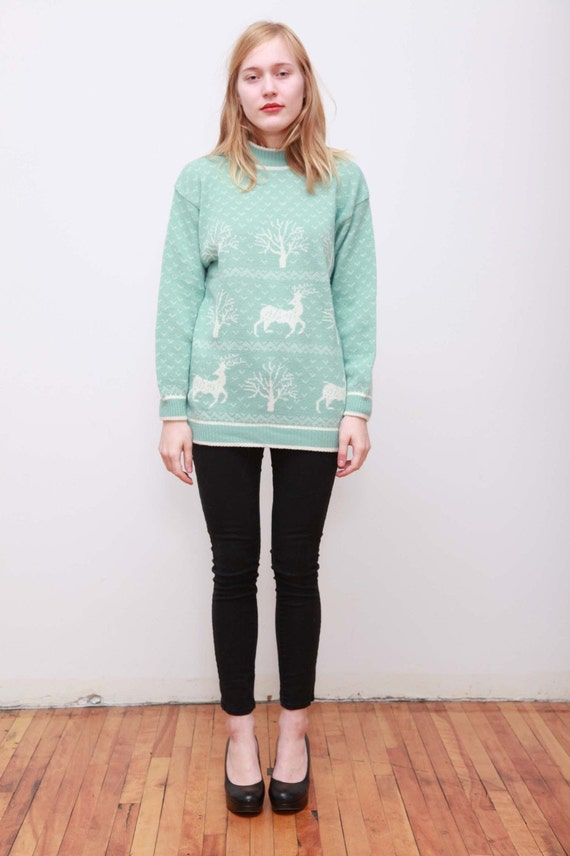 80s Seafoam Ski Trip Sweater with Deer and Tree Print M