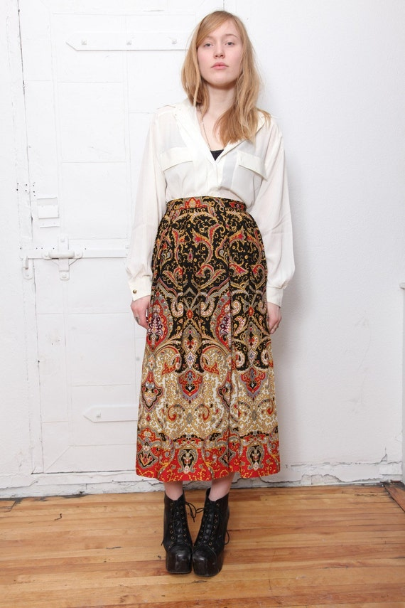 Stunning Gold and Red Print Maxi Skirt S