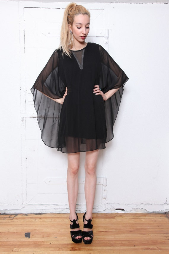70s Sheer Black Draped Cape Dress