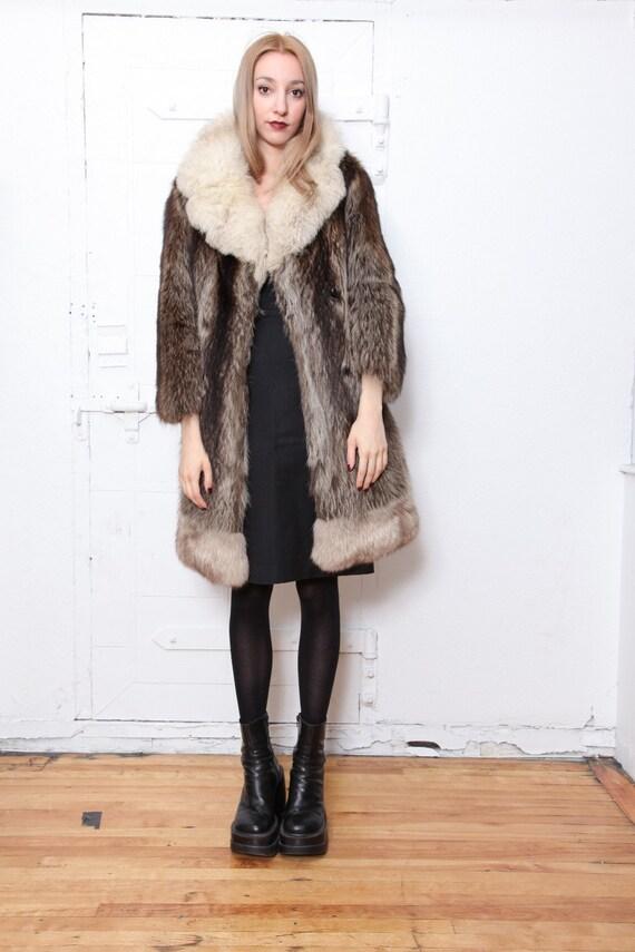 30% OFF SALE Raccoon Fur Knee Length Coat with Fox Fur Collar and Trim S