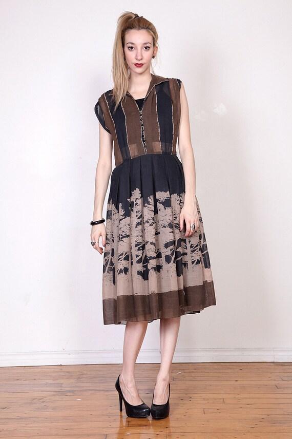 50s Black and Brown Tree Nature Print Tea Dress S