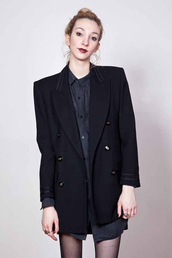 SALE 90s Black Wool Fitted Double Breasted Blazer with Piping S-M