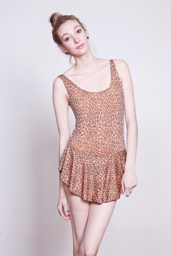 80s Leopard Print Bathing Suit with Flounce Peplum S-M