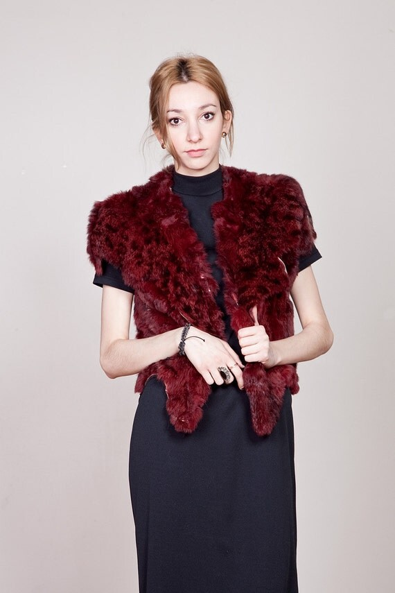 70s Burgundy and Black Primitive Draped Fur Vest S-M