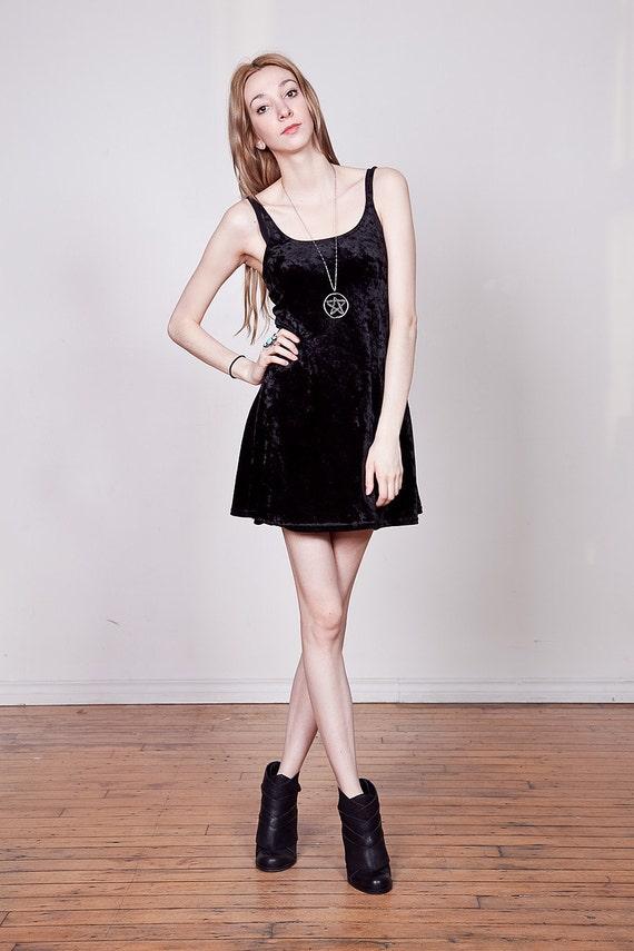 SALE 90s Black Crushed Velvet Mini Dress S