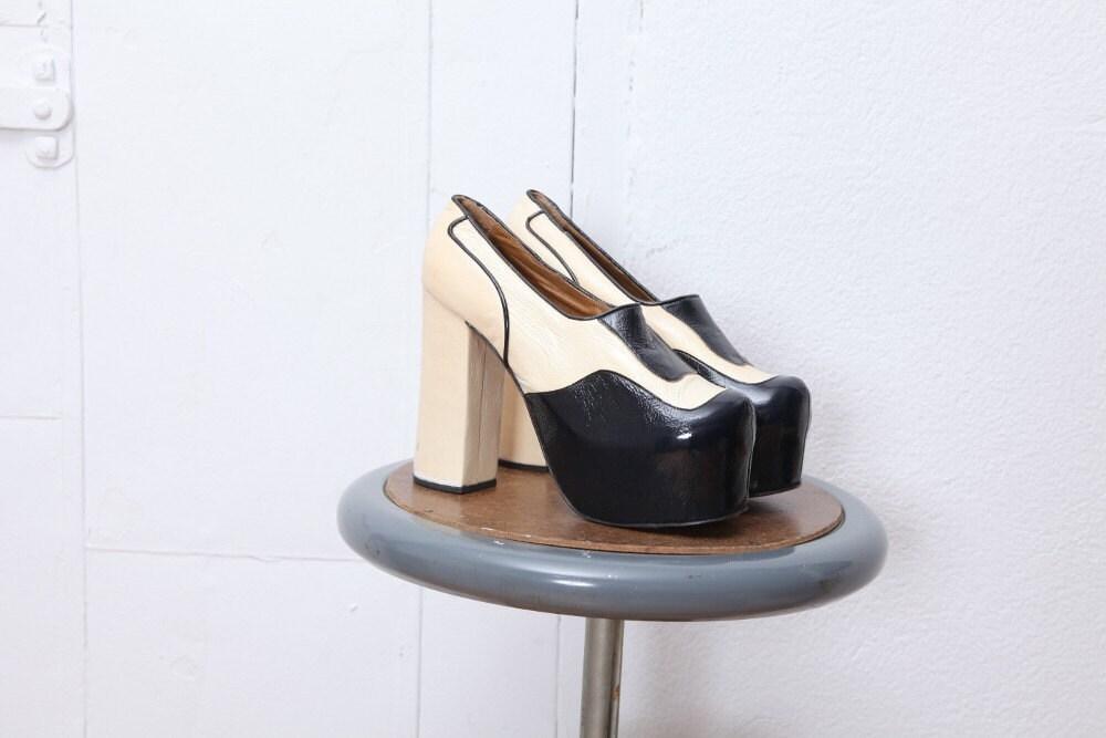 70s disco leather dasaje platform shoes 7