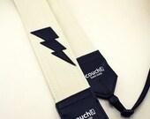 Lightning Bolt Camera Strap - White Vinyl - Vegan and Upcycled