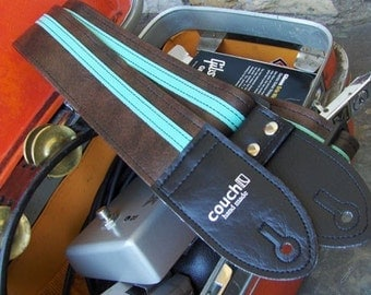 Repeat Brown and Mint Racer X Guitar Strap - Vegan - Tons of colors to choose from