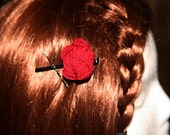Wide Black Bobby Pins w/ Large Crocheted Rose
