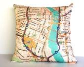Cushion cover pillow map cushion PORTLAND map pillow, Organic cotton pillow cover, throw cushion 16x16inch 40cmx40cm