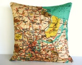 Decorative pillow cover, city maps BRISBANE Organic cotton map cushion cover, cushion cover, throw pillow 16x16
