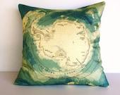 Decorative pillow throw pillow map cushion, ANTARCTICA  pillow, cushion, 16 inch cushion cover, 40cm pillow