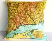 Map pillow Cushion cover pillow map cushion, map pillow  CONNECTICUT map throw pillow Organic cotton, vintage map, pillow cover