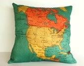cushion cover, pillow NORTH AMERICA Organic cotton map cushion, throw pillow  map pillow Decorative pillow 16 x 16 pillow