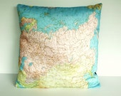 Cushion cover pillow RUSSIA Organic cotton cushion cover, map pillow of Russian Federation, map cushion, 16 inch 41cm